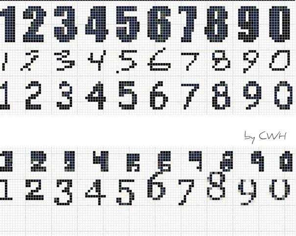 Схема цифр для фенечки из мулине