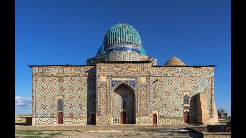 Свастика на стене Мавзолея Ходжа Ахмета Яссауи, 14 век (г. Туркестан, КЗ)