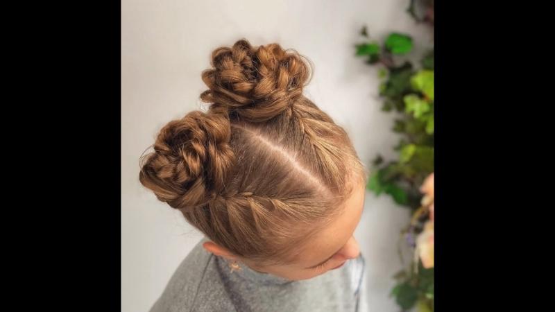 Прическа для длинных волос «Цветочки»