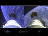 Видеокамера на космической ракете Союз, во время запуска