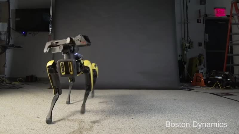 Robot from Boston Dynamics Laboratory. Uptown Funk. (Glee Cast Version)