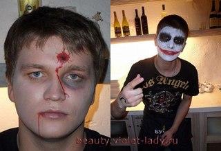 На Хэллоуин можно при помощи грима создать образ избитого бойца.  Для этого нужно фиолетовой и желтой гуашью...