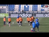 Cristiano Ronaldo with a great skill & Casillas attempts a rabona in RMA Training