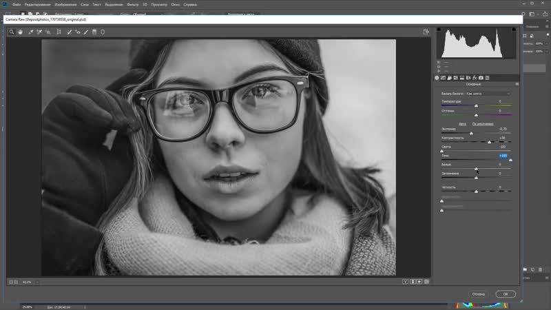 Последовательная ретушь фотографий. Чб в Adobe Photoshop camera raw. (Максим Басманов)