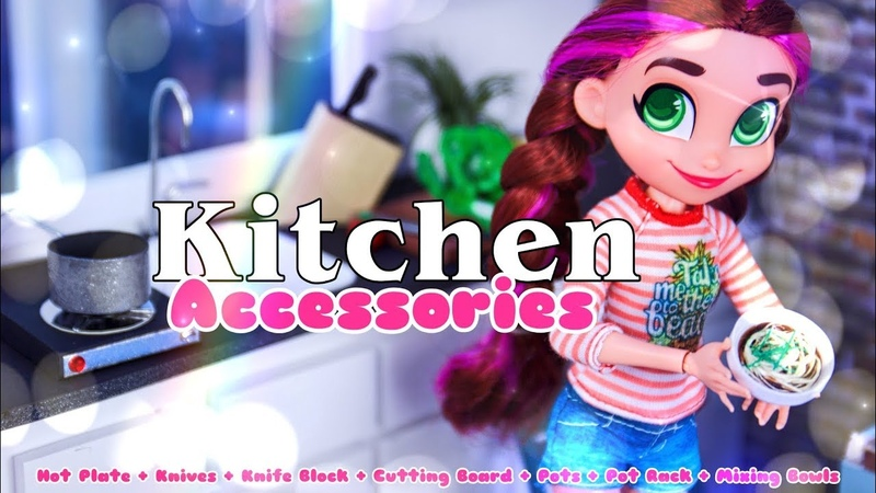 DIY - How to Make: Doll Kitchen Accessories | Hot Plate | Knives | Pots more