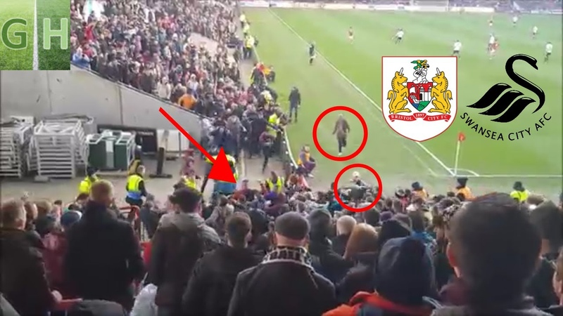 Entire FIGHT between Bristol City Swansea fans caught on camera fan on pitch for disallowed goal