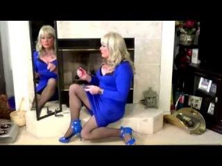 Tgirl Makeup in Black & Blue (HD) Matty Caff Tgirl Crossdresser Transvestite