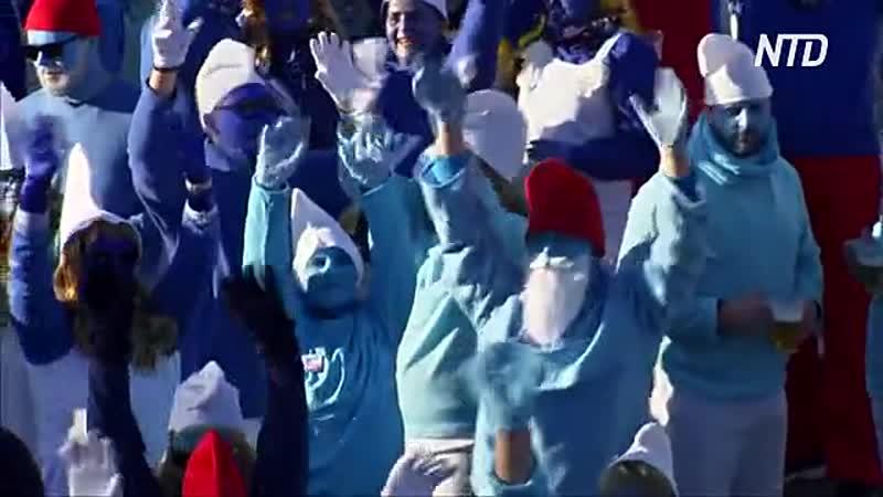 Более 2700 смурфов собрались чтобы установить мировой рекорд