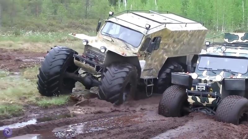 ▶️ Jeeps Atolado no Barro - Entrando Com o Tanque de Guerra na Água 🚜🚜🚜