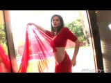 Hot Bollywood Actress Sunny Leone in a Red Sari