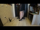 Bbw removes sneakers and clothes nylon pantyhose and high heels shoes