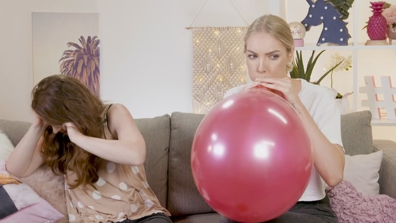 French girls blow to pop balloons and sit on them