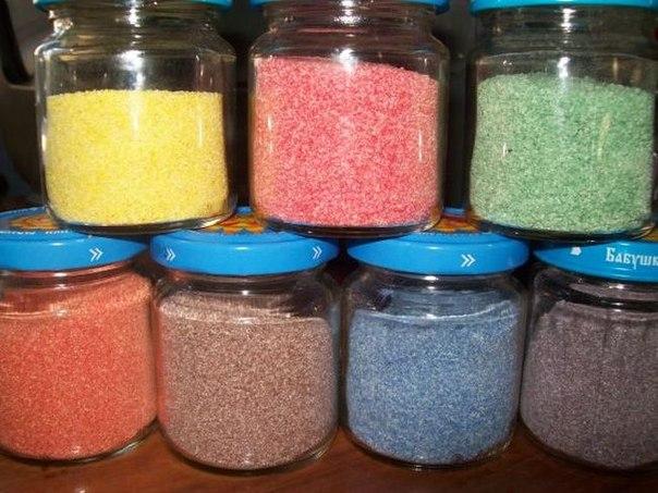 Как сделать цветной песок из манки своими руками 46