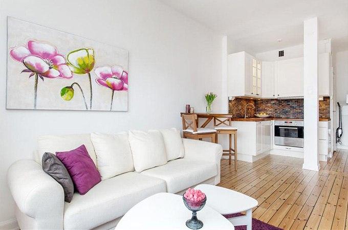 Угловая квартира-студия 28 м в Стокгольме / Швеция - http://kvartirastudio.