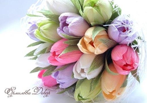 Из гофрированной бумаги и конфет своими руками тюльпаны мастер класс
