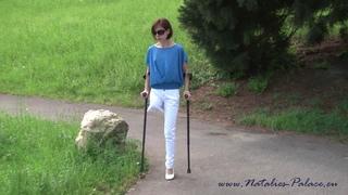 Amputee model Nina is walking in Stuttgart