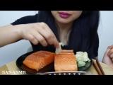 [SAS-ASMR] ASMR Salmon Sashimi (EXTREME SAVAGE EATING) Whole Big Slice NO TALKING | SAS-ASMR