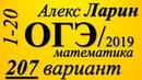 Разбор Варианта ОГЭ Ларина №207 (№1-20).
