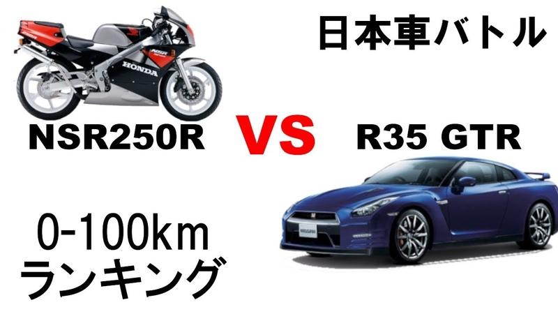 日本車 0-100km 加速 ランキング バイク vs 車 軽自動車 スクーター R35GTR スイフト 3858