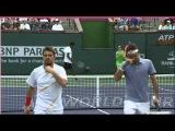 2014 Indian Wells Double R1 Federer&Wawrinka part2