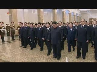 경애하는 최고령도자 김정은동지께서 민족최대의 추모의 날에 즈음하여 금수산태양궁전을 찾으시였다