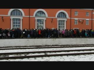 Встреча ретро-поезда в Брянске