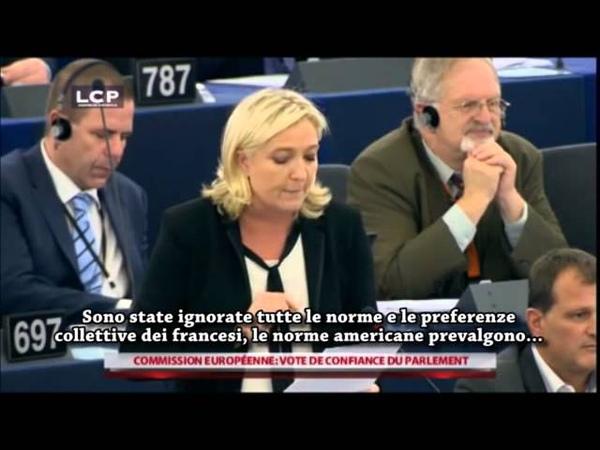 Marine Le Pen vota contro la fiducia a Juncker 22/10/2014