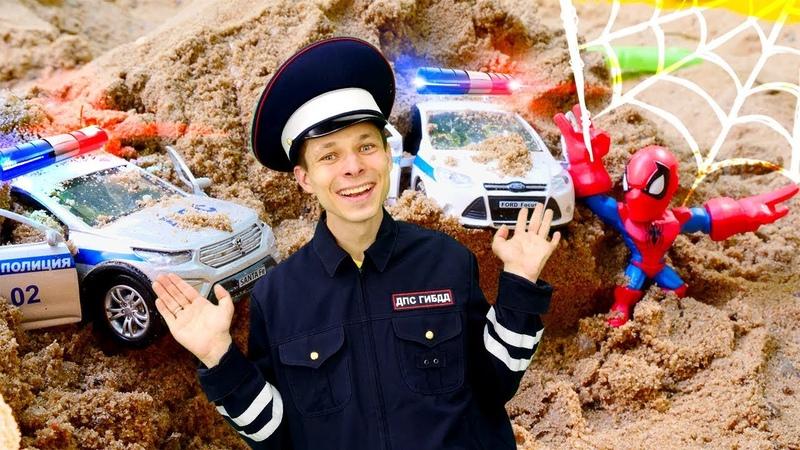 Человек Паук и Инспектор Фёдор ловят Альтрона Игры гонки на полицейских машинках в Автомастерской