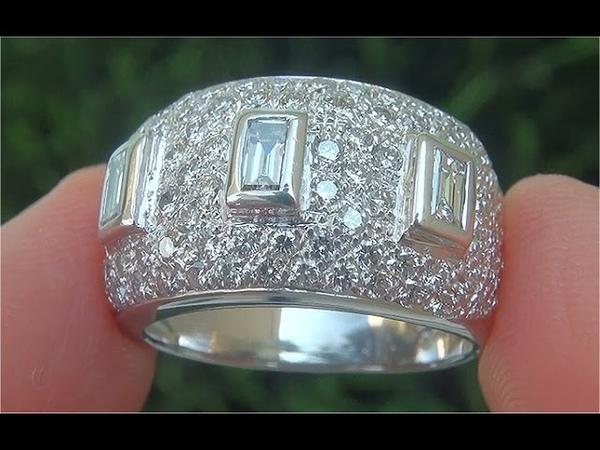 Certified VS1/G Natural Diamond 3 Stone Past Present Future 18k White Gold Anniversary Ring - C879