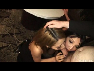 Two horny Japanese babes show a horny businessman