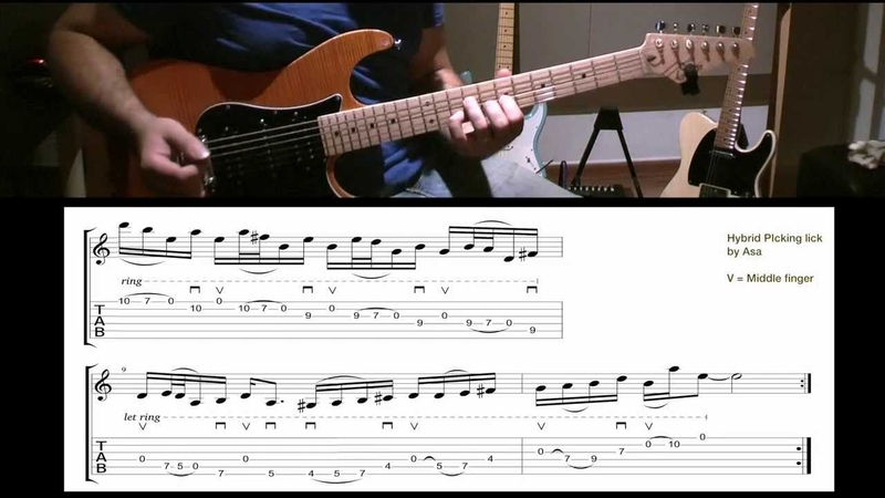Guitar Lick of the day! Hybrid picking with open strings * Slow/Fast demo TAB* by Asa