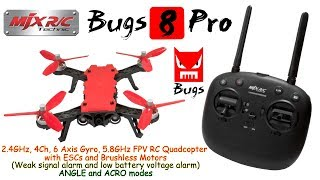 MJX Bugs 8 Pro 2.4GHz, 4Ch, 6 Axis, 5.8GHz FPV Quadcopter with ESCs and Brushless Motors (RTF)