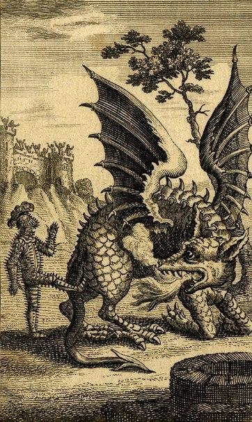 Гравюра: Рыцaрь пинaет дракона