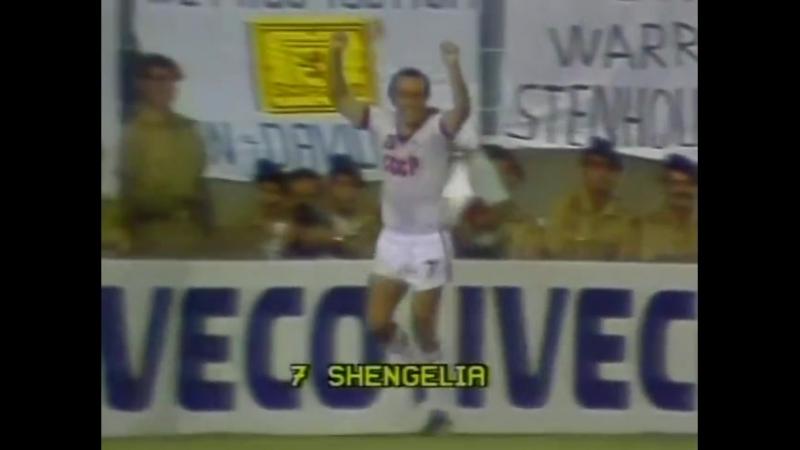 ЧМ-1982. Рамаз Шенгелия (СССР) - мяч в ворота сборной Шотландии
