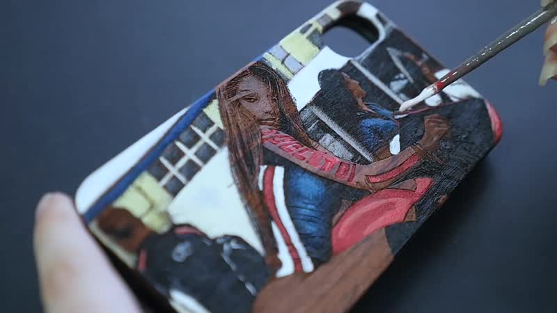CreecCase Чехол из дерева с лазерной гравировкой и ручной росписью Девушка