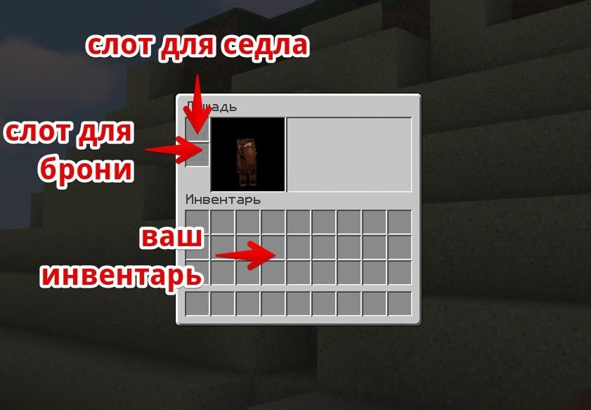 инвентарь лошади в Minecraft