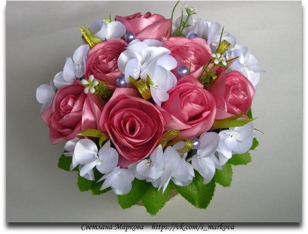 Цветы из атласной ленты своими руками в горшочке - Весь Муром