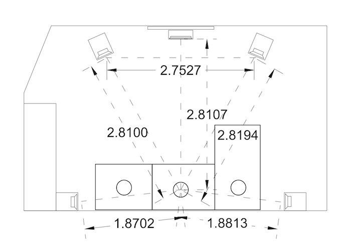 Схема размещения домашнего кинотеатра