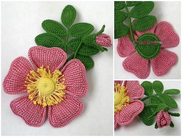 применять вязаные цветы из