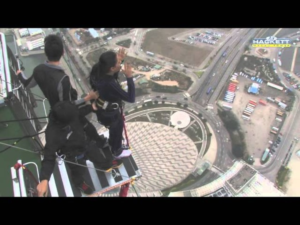 Worlds Highest Bungy Jump Macau - SCARY FUNNY JUMP , Indian Girl Says JAI HO Before she jumps
