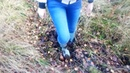 Girl got stuck in forest mud in wellies