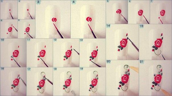 Китайская роспись на ногтях видео уроки для начинающих роза