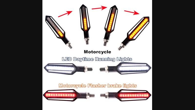 2pcs Turn Signal Flowing Turn Signal Motorcycle Led Blinker Motorcycle Flasher Light DRL Indicator Light Brake Lamp