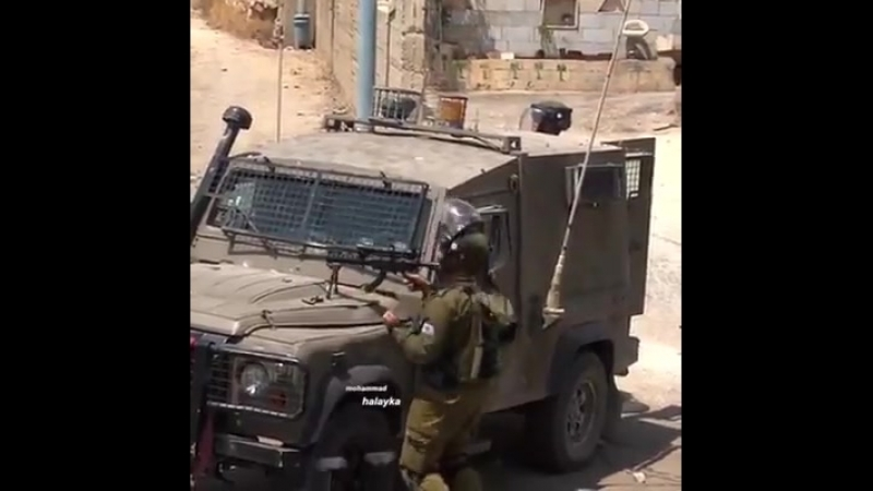 🇵🇸Palestine Israeli soldier cheers after shooting an unarmed Palestinian protester by live ammunition in Bet Ummar town today