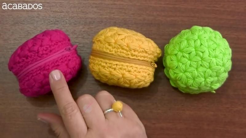Monedero macarrón con zipper (o cierre) tejido a crochet _ Tejiendo Perú