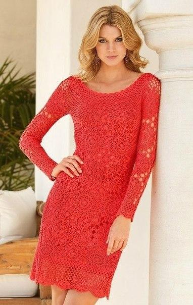 Красное платье крючком, схема