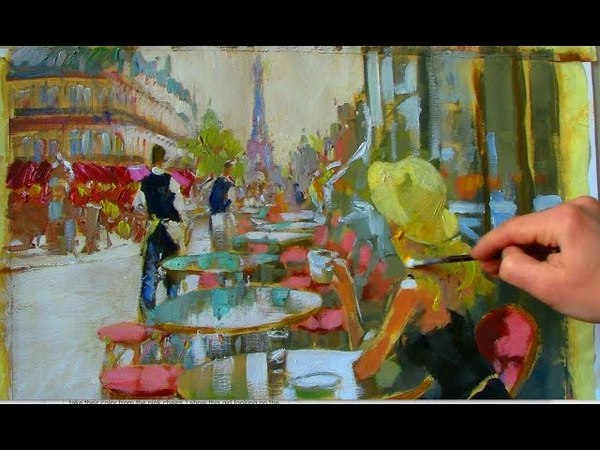 Gossip Girl at the Cafe-Modern Impressionist Painting
