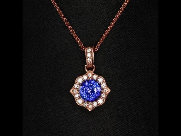14K Rose Gold Tanzanite and Diamond Pendant 1.83 Carats