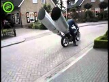 Motorcycle with enormous exhaust pipes