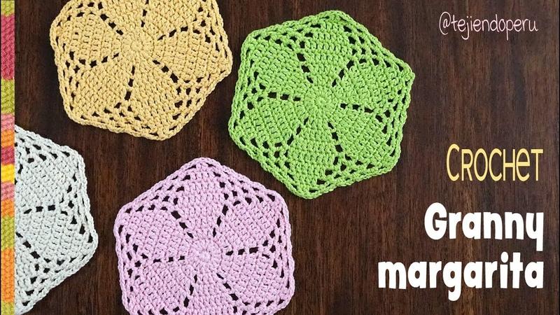 Granny margarita o hexágono tejido a crochet Tejiendo Perú